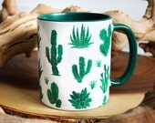 Preorder-Ship in 1 Week -Green Cactus with Green Rim Mug