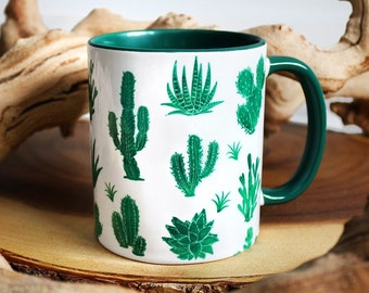 Green Cactus with Green Rim Mug
