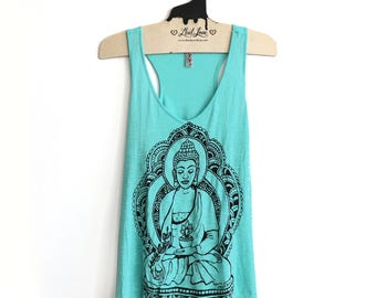 Large - Turquoise Teal Slub Tank with Buddha Screen Print