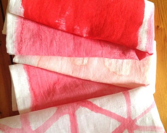 Tea towel : Pink and a Softer Pink Hand painted linen tea towel