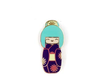 Traditional Kokeshi Doll with Teal Bun • Hard Enamel Lapel Pin