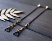 Geometric long chain earrings gold black triangle earrings linear earrings unique jewelry long thin earrings modern brass - Jax Earrings