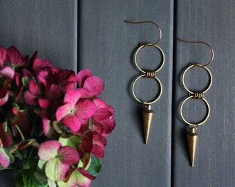 Octavia Earrings - minimal modern geometric round circle brass point pendulum spike tribal bullet cone gold big large long