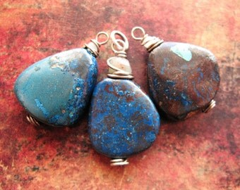 Shattuckite Pendant Trio in Antiqued Sterling Silver - 3 pieces - 25 and 30mm in length