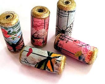Beautiful Butterfly - Paris Paper Beads -  Handmade Tube Beads - PB25