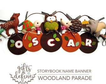 FREE US Ship Woodland Parade Personalized Custom Name Banner, Wall Art Felt Name Banner for Luxe Baby Nursery, Kids Playroom or Party Decor