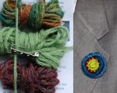Épinglette fleur tricot Kit - tweed panaché, vert et Bordeaux