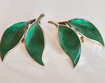 David Andersen leaf earrings. 925s, Norway sterling. Green enamel/ guilloche. Gold wash, Clip on.