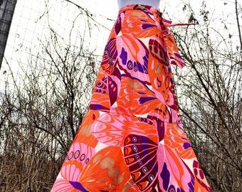 60s Skirt/Psychedelic Skirt/Maxi Skirt/Butterfly Skirt