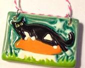 Tuxedo Cat Ceramic Art Ornament