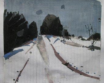 Cedar Hill, December 23, Original Winter Landscape Collage Painting on Paper, Stooshinoff