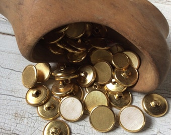 Vintage metal gold tone buttons,Set of 8,New old stock,Golden textured lines,Faux brass,Pressed metal self shank buttons