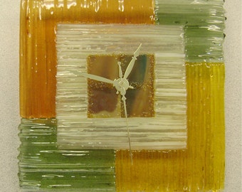 Fused Glass Wall Clock Colorblocks Strip Construction