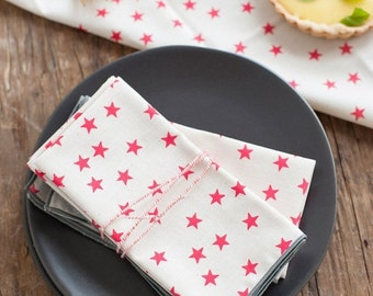 ON SALE Watermelon Stars Cloth Napkin, Set of 4, Trimmed in Gray