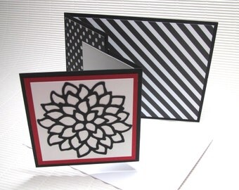 Blank flower card handmade stamped fancy-fold double fun black red paper greeting party supplies paper goods