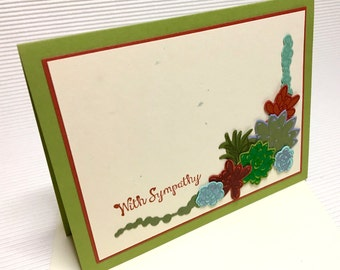 With sympathy condolence succulent card handmade stamped blank stationery greeting party supply pape