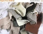 40% OFF- Felted Wool Scraps-Earth-Brown and Cream Wool Scraps-Wool Destash