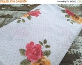 40% OFF- Pink and Orange Floral Fabric--Reclaimed Bed Linen Fabric-