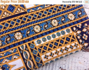 FLASH SALE- Retro Patchwork Fabric-Reclaimed Table Linen Fabric-Blue and Yellow