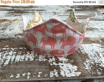 40% OFF- Newborn Crown--Upcycled-Quilted-Reversible-Pink Elephants-Photo Prop