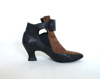 Color Block Brown Black Buckle Booties Ankle Boots / Leather and Suede / Neil Stephen / Size 5.5 / Kitten Heels