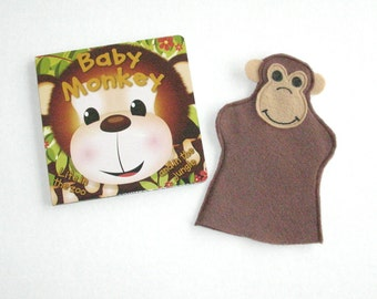 Monkey Hand Puppet and Baby Monkey Book Set
