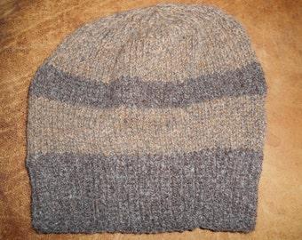 Hand knit knitted 100 % natural wool hat watch cap skicap beanie dark brown men women one size