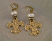 Be Prepared - Vintage Boy Scout Pins Rhinestones Pearls Recycled Repurposed Upcycled Steampunk Jewelry Earrings