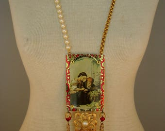 Old Masters -  Vintage Old Masters Tin Brooch Pen Nibs Chains Recycled Repurposed Jewelry Assemblage Statement  Wearable Art Tribal Necklace