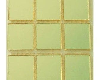 15 - 1 inch GOLD MIRROR Square Glass Mosaic Tiles