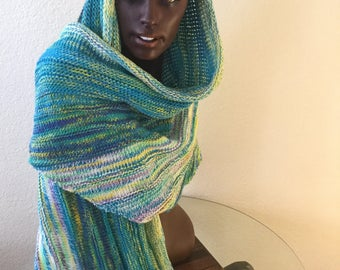 Beautiful Hand Knitted. Spring Shawl made with Handdyed Superwash Merino Treadsoft and BFL  85 x 35 Inches