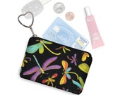 Small Zipper Pouch Coin Purse Keychain Key Fob Cute Dragonfly Fabric  Business Card Holder Purse Organizer Colorful purple blue green RTS