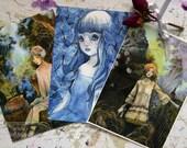 Art Card - Postcard - Stationery - Mori Girls - Whimsical - Anime Style - Cute - Kawaii - Japan