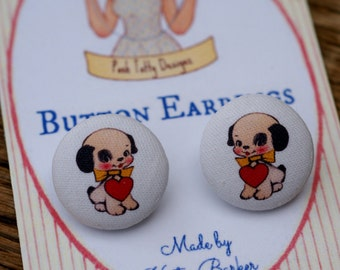 Vintage Inspired Puppy Love Valentine's Day Fabric Button Earrings (18)