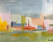 small abstract original painting 9x12 modern art colorful abstract landscape