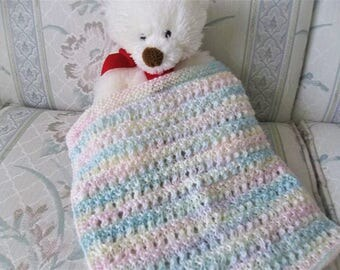 Knit Doll Blanket-Multicolor Doll Blanket-Hand Knit Doll Blanket-Cuddle Blanket-Doll Aghan -Reborn Doll Blanket-Doll Accessories