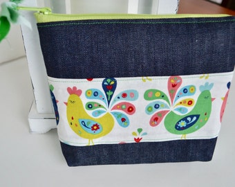 Make up Bag - Zipper Pouch - Diaper Bag Pouch - Bird Pouch - Patchwork Pouch - Gift for mom - Gift for Teachers - Zipper Bag
