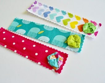 Fabric Bookmarks - Kids Bookmarks - Girls Bookmarks - Rainbow Bookmark - Book Club -