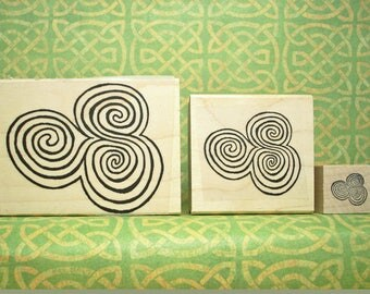 Newgrange Spirals Rubber Stamp Set of 3 Sizes Ancient Ireland