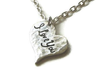 I Love You Silver Heart CHARM and Sterling Silver Necklace, bridesmaid, wedding, discount, girlfriend necklace, romanza jewelry