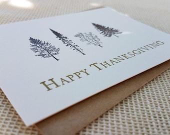 Letterpress Enclosure Card - Thanksgiving Trees