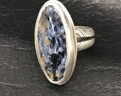 Reserved for Shekinah - Pietersite Cabochon Ring in Solid Argentium Sterling Silver .935