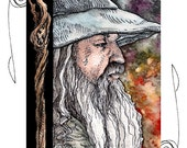 Gandalf ACEO 2.5x3.5 Print Lord of the Rings Mini Trading Card Art
