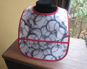WATERPROOF WIPEABLE Baby to Toddler Wipeable Plastic Coated Bib Grand Slam Baseballs All Over