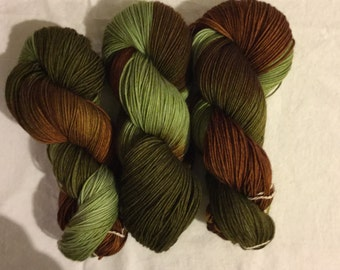 Hand dyed superwash sock yarn IN THE WOODS
