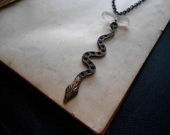 slither - vintage snake charm necklace - vintage snake pendant - brass snake charm - y necklace - witchy necklace - crystal necklace