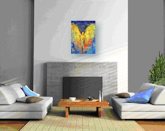 ORIGINAL Angel Art Oil Painting Blue Gold ANGEL Grace Vision of Angels Series 24x18 by BenWill