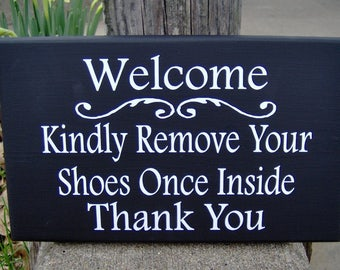 Welcome Kindly Remove Your Shoes Once Inside Thank You Wood Sign Vinyl Home Decorative  Door Wall Porch Hanger Phrase Keep Clean Manners