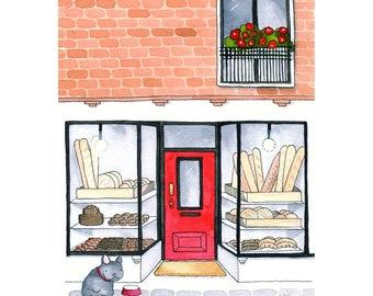Bakery with Bulldog (Giclee print)