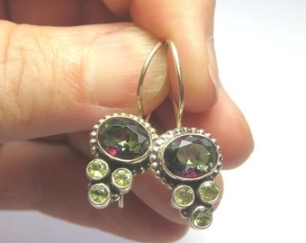 BlackFridaySale Mystic Topaz and Peridot Earrings.  Bezel Set Mystic Topaz and Peridot Sterling Silver Earrings.